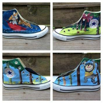 VONR3I Where the Wild Things Are Custom Hand Painted Converse Shoes