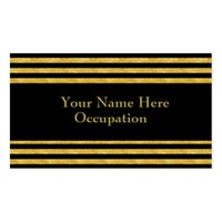 Professional Contemporary Gold and Black Striped Business Card