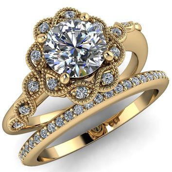 Chastity Round Moissanite 4 Prong Milgrain Halo Accent Ring