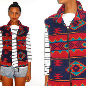 Vtg Tribal Aztec Print Fleece Zip Up Vest by LuluTresors on Etsy
