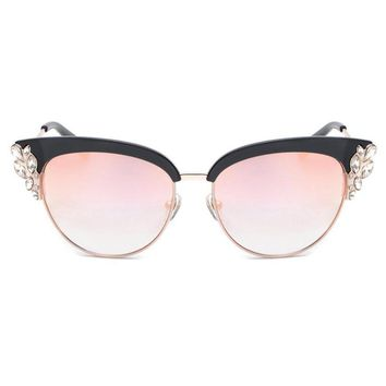 ROYAL GIRL Exaggeration Cat Eye Sunglasses Women Brand Designer Half Frame Diamante Sun Glasses Summer Style oculos de sol SS224