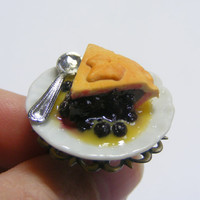 Blackberry Pie and Custard Miniature Food Ring - Miniature Food Jewelry