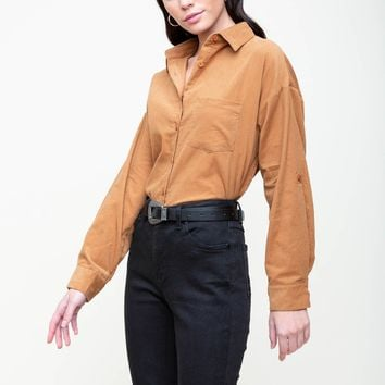 Buckle Up Button Down Blouse