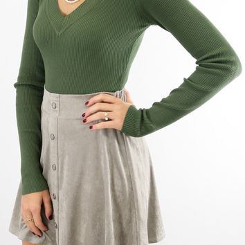 Olive Ribbed V-Neck Sweater Bodysuit