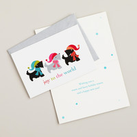 Three Scottie Dogs in a Row Boxed Holiday Cards, Set of 15