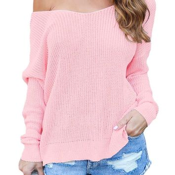 Pink Backless Knit Sweater with Twist Back Detail