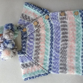 Hand Knit Baby Sweater and Booties Set / 0-12 Months /Ready to Shipping / Baby Boys and Baby Girls