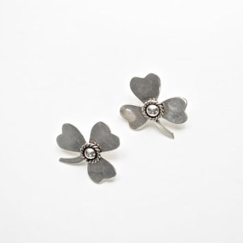 Taxco Vintage Sterling Silver Shamrock Clover Post Earring Mexico 925