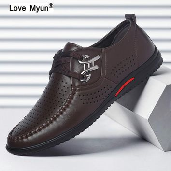 Spring Autumn Black White PU Leather Shoes Men's Business Shoe Man Breathable Casual Shoes Moccasins Boat Flat Shoes