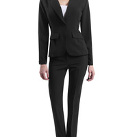 LE3NO Womens Fitted Single Button Seamed Waist Blazer and Pants Suit Set