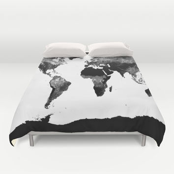 world map duvet cover by whimsyromancefun