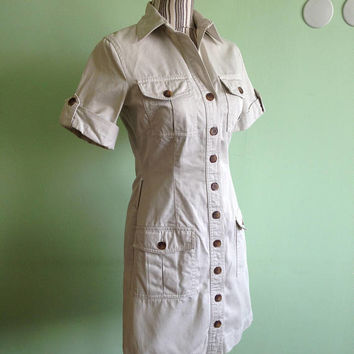 Button Down Dress, Vintage Shirt Dress, Beige Dress, Safari Dress, Minimalist Dress, Short Sleeve Cotton Sarafan, Simple Military Dress, S