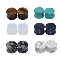 D&M Jewelry 6 Pairs Mixed Stone Ear Plugs Tunnels Saddle Expander Body Piercing Set Gauge 00g