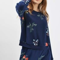 Poppy Print Loungewear Sweatshirt - Nightwear - Clothing