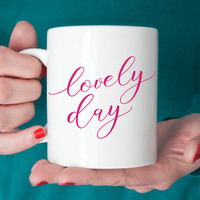 Lovely Day Mug - Black Navy Pink Green - Double Sided 11 oz Ceramic - Bride Bridemaid Gift Bridal Shower or Wedding Gifts - More Colors