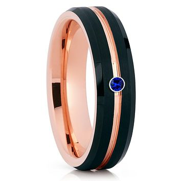 Blue Sapphire Ring - Rose Gold Tungsten Band - Men's Ring - Women's Ring
