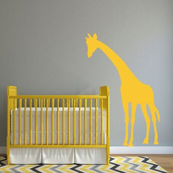 Giraffe Wall Decal - Giraffe Decal leaning over crib - Nursery Wall Decor