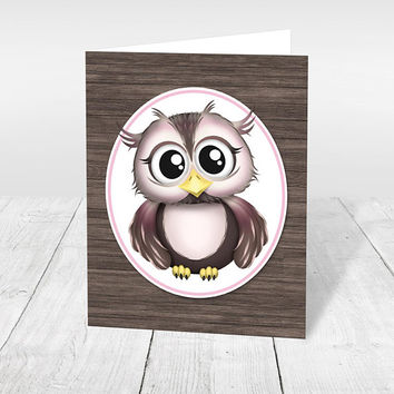 Owl Note Cards - Rustic Pink Brown Wood - Adorable Cute Animal Owl Thank You Cards - Blank Inside - Printed Owl Cards