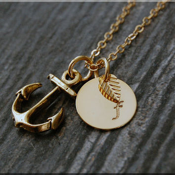 Gold Anchor Necklace, Initial Charm Necklace, Personalized Necklace, Nautical Charm, Anchor charm, Anchor Pendant necklace, Nautical Jewelry