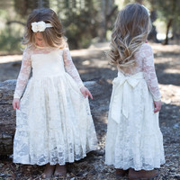 Girl Lace Long Dress With Sweet Flower For Age 3-12 Baby Kids Princess Wedding Prom Party White/Cream Big Bow Long Sleeved Dress