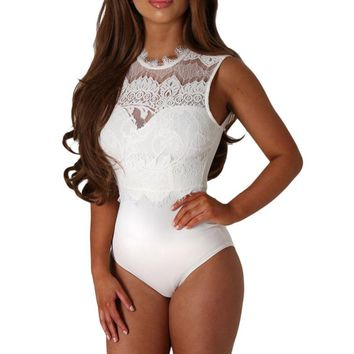 FGirl Bodysuit Overalls Lace High Neck Cut Out Back Bodysuit Women Sexy Bodysuit Body Romper FG41696