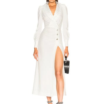 Alessandra Rich Hollywood Dress with Crystal Collar in White | FWRD