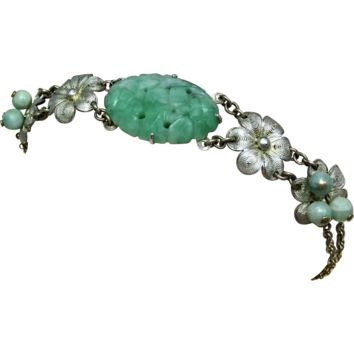 Vintage 1920s Unique Late Asian Art Nouveau - Early Asian Art Deco Carved Jadeite Jade and Sterling Silver Filigree Adjustable Floral Gift Bracelet