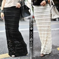 Lookbookstore Sheer Women Lace Overlay Double-Layered Black Ivory Dress Bodycon Fit Maxi Skirt @lookbookstore #lookbookstore