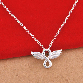Sales Promotion Womens Jewellery Fashion Necklace Angel Wings Eternal Love Infinity Necklaces Chains & amp Pendants Charms Gifts