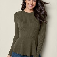 VENUS | Ribbed Peplum Sweater in Olive