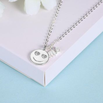 925 Sterling Silver Necklace Heart-shaped Eyes Eye Emoticon Pendant Fashion Cute Necklace