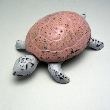 Turtle Trinket Keepsake Holder Cast Iron Pastel Pink White Distressed Home Decor Shabby Cottage Chic Beach Nautical Sea Turtle