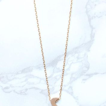 Gold Dainty Crescent Moon Charm Collar Necklace