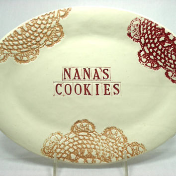 Nana's Cookies Platter, Gift for Nana, Lace Oval Serving Platter, Nana Birthday, Nana's Kitchen, Custom Platter, I Love Nana