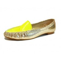 Snakeskin Neon Yellow Loafer Leather Shoes - Loafer Shoes - Shoes