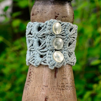 Sage Green Crocheted Bracelet, Steampunk Cuff