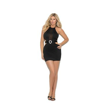 Elegant Moments Lycra Dress W/Mesh Insert