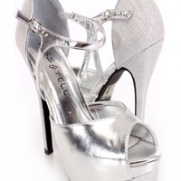 Silver Peep Toe Heels Glitter Faux Leather