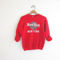 Vintage Hard Rock Cafe Sweatshirt. New York novelty sweatshirt. red sweatshirt.