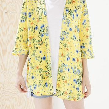 Women's Jacket - Dolman Sleeves / Open Front / Floral Pattern on Yellow