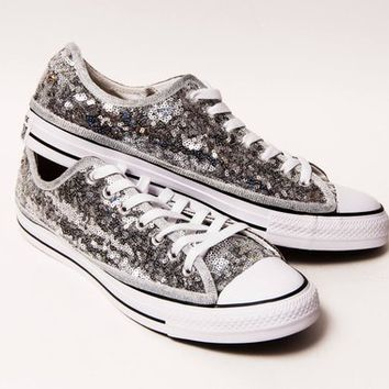 Tiny Sequin - Silver Canvas Converse All Star Low Top with Black Stripes Sneakers Shoes
