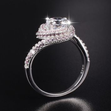 Promotion!!! Real Solid 100% 925 Sterling Silver Wedding Rings Jewelry for Women 3 Carat SONA Diamond Engagement Ring size 5-10