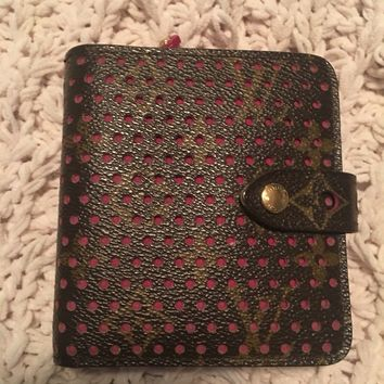 Louis Vuitton Limited Edition Perforated Monogram French Compact Wallet Pink
