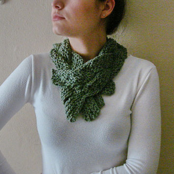 Circle Braided headband, Green Knit Collar, Ladder Scarf women fashion