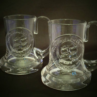 Pair of Dartington Crystal half pint Mayflower tankards. Frank Thrower 1970 design  celebrating 350th anniversary of  Mayflower setting sail