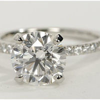 Round Diamond Engagement Ring 2.29ct Round Diamond Platinum BLUERIVER47 on Etsy Fine Jewelry