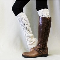 LW0 Cream basic Open crochet knit leg warmers -leg warmers-lace leg warmers-knit leg warmers-legwarmers-boot socks-lace boot socks-boot cuff socks- boot toppers-woman boot sock-women boot cuff sock-lacey socks-sock for boots boot socks