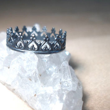 Silver Crown ring Sterling silver princess ring Sterling Silver stacking rings-Oxidized Crown stacking ring