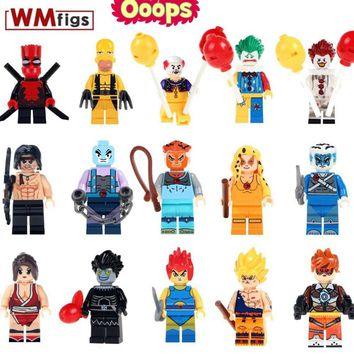 Single Simpsons Wild Deadpool Legoingly Wolverine Dragon Ball Thunder Cats Pennywise Clown Building Blocks Toys for Children