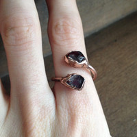 Double Garnet Wrap Ring  - Gemstone Ring - Unique Ring - Raw Stone Ring - Semiprecious Stone Ring - SIZE 9